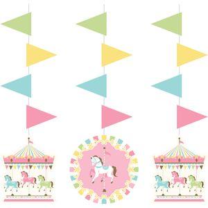 3 hängende Girlanden klassische Babyparty Pferde Karussell – Bild 1