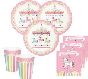 10 Papier Tütchen klassische Babyparty Pferde Karussell – Bild 2