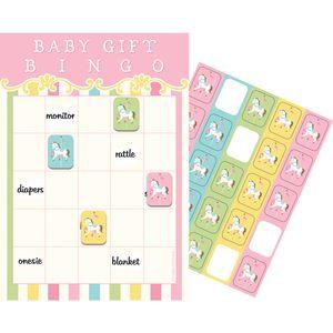 Bingo Spiel klassische Babyparty Pferde Karussell