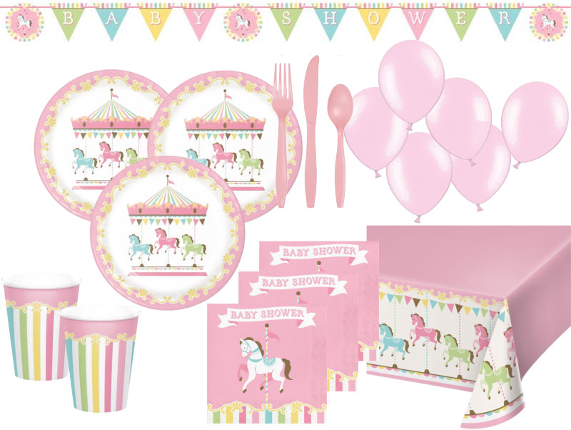 Xl 68 teile pferde karussel babyshower party deko set f r for Baby shower party deko