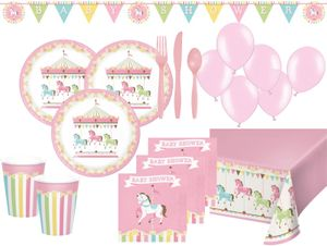 XL 68 Teile Pferde Karussel Babyshower Party Deko Set für 8 Personen