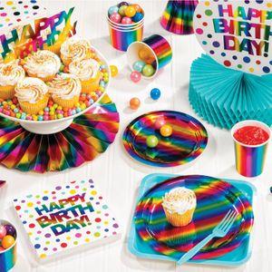 32 Teile Party Deko Set schimmernder Regenbogen - foliert für 8 Personen – Bild 5