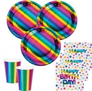 [Paket] XL 44 Teile Geburtstags Party Deko Set schimmernder Regenbogen - foliert für 8 Personen