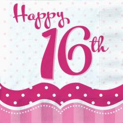 [Paket] XXL 39 Teile Sweet Sixteen zum 16. Geburtstag Perfectly Pink für 18 Personen - Folienballon