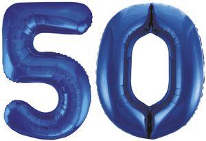 Folien Ballon Zahl 50 in Blau - XXL Riesenzahl 86 cm zum 50. Geburtstag in Blau - Jumbo
