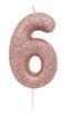 Schimmernde Glitzer Zahlenkerze Rosegold 6