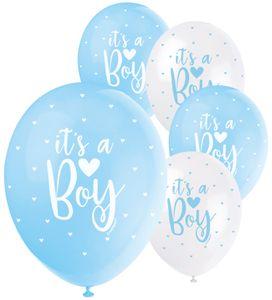 It's a Boy 5 Luftballons in Weiß und Blau