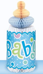 Tischaufsteller Babyflasche Blau
