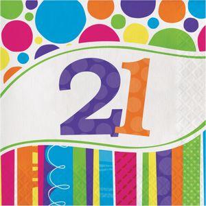 16 Servietten 21. Geburtstag Punkte und Streifen – Bild 1