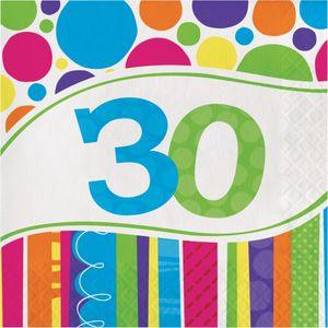 16 Servietten 30. Geburtstag Punkte und Streifen