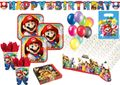 XXL 56 Teile Super Mario Party Deko Basis Set für 8 Kinder