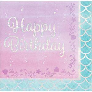 16 Geburtstags Servietten schimmernde Meerjungfrau