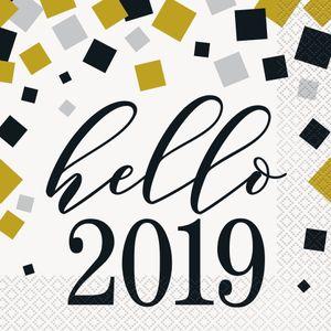 16 Servietten Silvester Party Hello 2019 in Gold Silber und Schwarz