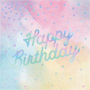 16 pastell marmorierte Servietten mit irisierendem Schriftzug Happy Birthday – Bild 1