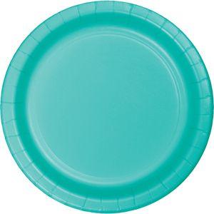 24 große Papp Teller Lagunen Blau 26 cm Durchmesser