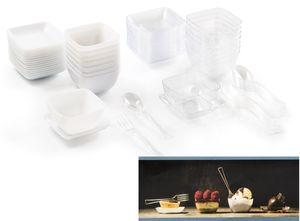 72 Teile Fingerfood Set aus Plastik in Weiß und Durchsichtig Klar