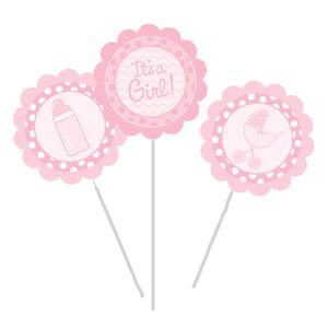 3 Blumen- oder Kuchenstecker It's a Girl Baby Rosa – Bild 1