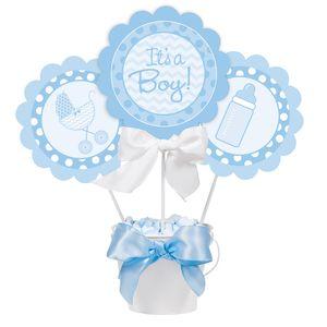 3 Blumen- oder Kuchenstecker It's a Boy Baby Blau – Bild 2