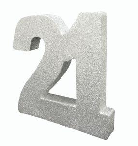 Deko Glitzer Zahl 21. Geburtstag Silber