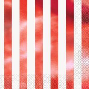 16 Servietten weiß und Hochglanz Rot gestreift