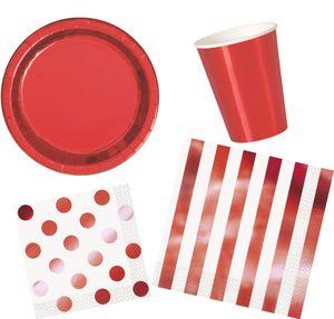 16 Servietten weiß und Hochglanz Rot gestreift – Bild 2