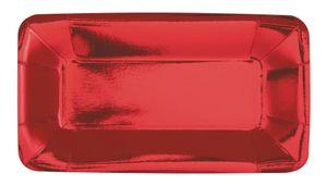 8 kleine längliche Appetizer Teller Hochglanz Rot