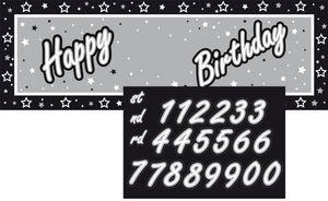 XXL Geburtstags Banner Schwarz und Silber mit Zahlen zum Runden Geburtstag