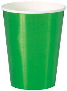 8 Papp Becher Hochglanz Grün 355 ml