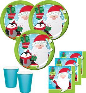 32 Teile Weihnachts oder Advents Set Pinguin und Weihnachtsmann für 8 Personen