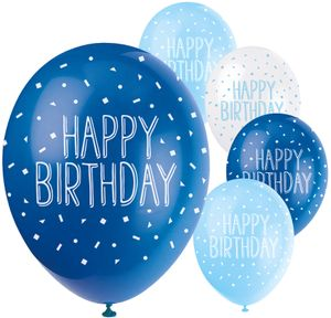 5 Happy Birthday Geburtstags Luftballons Blau Mix