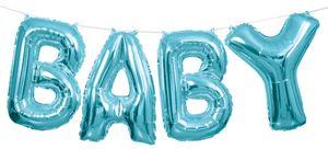 XXL DIY Baby Buchstaben Ballon Girlande in Pastell Blau 2,74 Meter lang