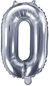 Folienballon Zahl 0 Silber Metallic 35 cm