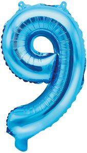 Folienballon Zahl 9 Blau Metallic 35 cm