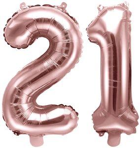 [Paket] Folienballons Zahl 21 Rosegold Metallic 35 cm