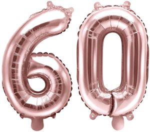 [Paket] Folienballons Zahl 60 Rosegold Metallic 35 cm