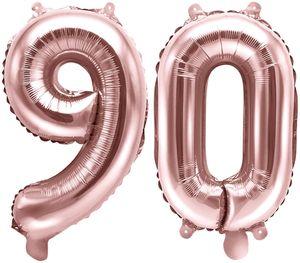 [Paket] Folienballons Zahl 90 Rosegold Metallic 35 cm