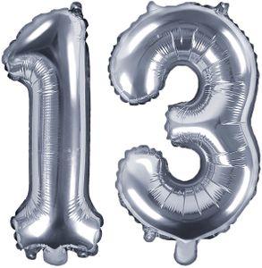 Folienballons Zahl 13 Silber Metallic 35 cm