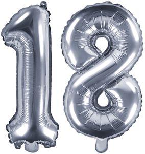 Folienballons Zahl 18 Silber Metallic 35 cm
