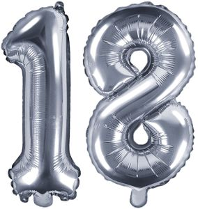 [Paket] Folienballons Zahl 18 Silber Metallic 35 cm