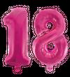 Kleine Folienballons Zahl 18 Pink Metallic 40 cm