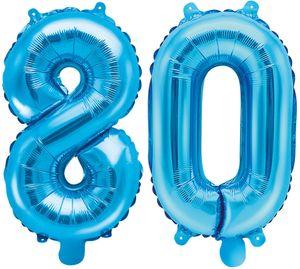 Folienballons Zahl 80 Blau Metallic 35 cm