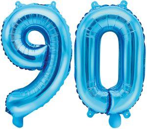 [Paket] Folienballons Zahl 90 Blau Metallic 35 cm