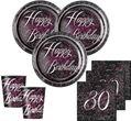 32 Teile edles Party Deko Set zum 30. Geburtstag in Schwarz Pink Silber foliert für 8 Personen