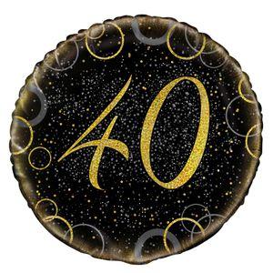 40. Geburtstag Folien Ballon Schwarz Gold