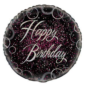 Geburtstag Folien Ballon Happy Birthday Schwarz Silber und Pink