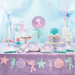 8 kleine Teller schimmernde Meerjungfrau – Bild 4