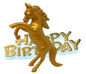 Geburtstags Tortendeko goldenes Einhorn