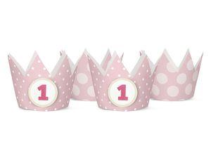 4 Party Krönchen Rosa + inkl. 4 Aufkleber zum 1. Geburtstag – Bild 1