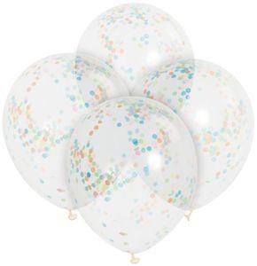 6 durchsichtige Luftballons mit buntem Konfetti Ø 30 cm – Bild 2