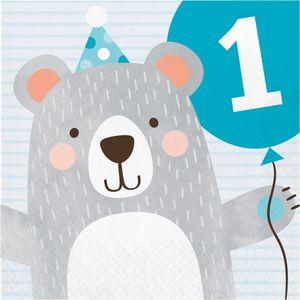 16 Servietten zum 1. Geburtstag blaues Bärchen – Bild 1
